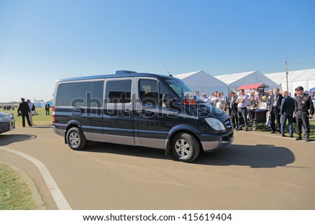 ZHUKOVSKY, MOSCOW REGION, RUSSIA - AUG 25, 2015: The car of the President of Russia Vladimir Putin at the International aviation and space salon MAKS-2015 - stock photo