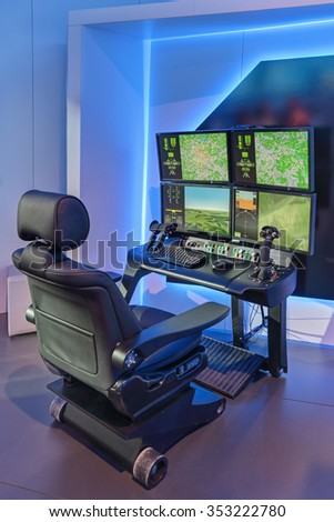 ZHUKOVSKY, MOSCOW REGION, RUSSIA - AUG 28, 2015: The ground control station for unmanned aerial vehicles at the International Aviation and Space salon MAKS-2015 - stock photo