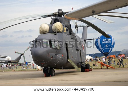 ZHUKOVSKY, MOSCOW REGION, RUSSIA - AUGUST 28, 2015: Helicopter shown at International Aerospace Salon MAKS-2015 in Zhukovsky, Moscow region, Russia.