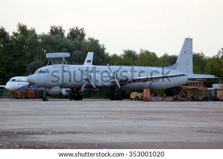 ZHUKOVSKY, MOSCOW REGION, RUSSIA - AUGUST 16, 2011: Ilyushin IL-38N 19 RED of russian navy standing at Zhukovsky. - stock photo