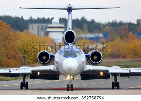 ZHUKOVSKY, MOSCOW REGION, RUSSIA - OCTOBER 13, 2014: Tupolev Tu-154M RA-85317 perfoming test flight at Zhukovsky. - stock photo