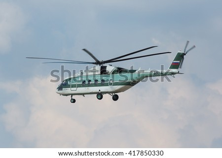 ZHUKOVSKY, RUSSIA - AUG 27, 2015: A demonstration flight Mil Mi-38 is a transport helicopter designed by Mil Moscow Helicopter Plant at the International Aviation and Space salon MAKS-2015
