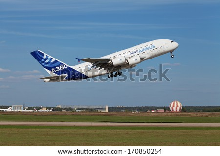 ZHUKOVSKY, RUSSIA - AUG 28, 2013: Demonstration flight Airbus A380 - wide-body two-decked passenger airliner at the International Aviation and Space salon MAKS-2013 - stock photo