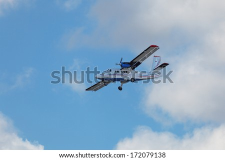 ZHUKOVSKY, RUSSIA- AUG 26, 2013: Demonstration flight De Havilland Canada Viking DHC-6 400 Twin Otter - twin-engine turboprop passenger aircraft at the International Aviation and Space salon MAKS-2013