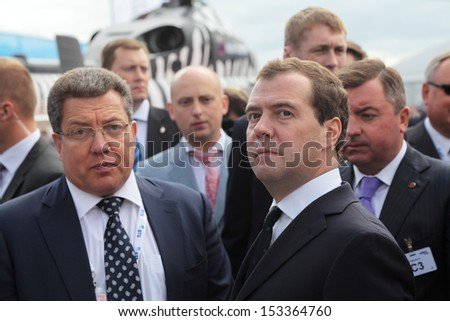 ZHUKOVSKY, RUSSIA - AUG 27: Dmitry Medvedev at the International Aviation and Space salon MAKS. Aug, 27, 2013 in Zhukovsky, Russia