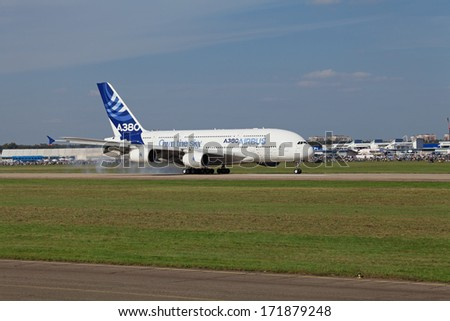 ZHUKOVSKY, RUSSIA - AUG 28, 2013: Landing Airbus A380 - wide-body two-decked passenger airliner after a demonstration flight at the International Aviation and Space salon MAKS-2013 - stock photo