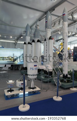 "ZHUKOVSKY, RUSSIA - AUG 29, 2013: Russian Federal Space Agency Roscosmos. The family of launch vehicles modular type ""Angara"" at the International Aviation and Space salon MAKS-2013"