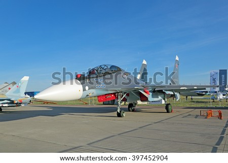 ZHUKOVSKY, RUSSIA - AUG 24, 2015: Russian two-seat, twin-engine supermaneuverable carrier-based multirole fighter Sukhoi Su-30 SM (Flanker-C) at the International Aviation and Space salon MAKS-2015 - stock photo