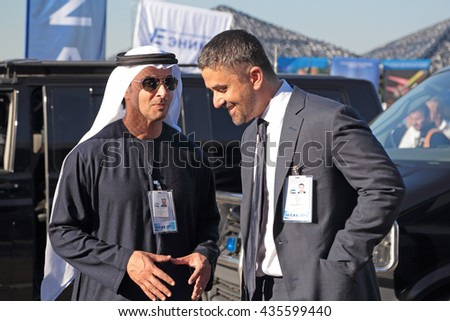 ZHUKOVSKY, RUSSIA - AUG 25, 2015: Sheikh Hazza bin Zayed Al Nahyan the United Arab Emirates Head of State for National Security Advisor at the International Aviation and Space salon MAKS-2015 - stock photo