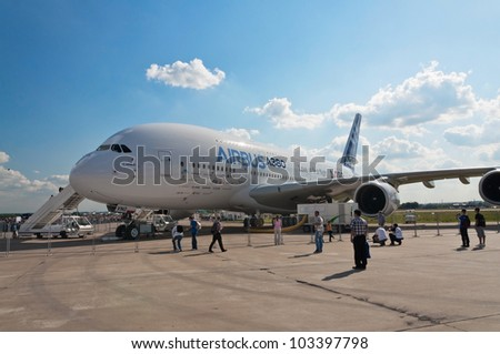 ZHUKOVSKY, RUSSIA - AUG 19: The Airbus A380 display at International aviation and space salon MAKS 2011 on August 19, 2011 in Zhukovsky, Russia - stock photo