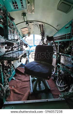 ZHUKOVSKY, RUSSIA - AUG 27, 2013: The cabin of navigator of the plane Tupolev Tu-134A is a twin-engined passenger airliner at the International Aviation and Space salon MAKS-2013