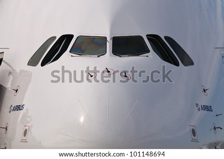 ZHUKOVSKY, RUSSIA - AUG 19: The glass cockpit of Airbus A380 on display at International aviation and space salon MAKS 2011 on August 19, 2011 in Zhukovsky, Russia - stock photo