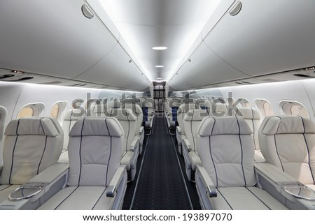 ZHUKOVSKY, RUSSIA - AUG 29, 2013: The Irkut MS-21 - passenger promising Russian jet airliner developed by Irkut and Yakovlev Design Bureau at the International Aviation and Space salon MAKS-2013 - stock photo