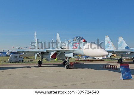 ZHUKOVSKY, RUSSIA - AUG 25, 2015: The Su-27 SM3 (Flanker) is a twin-engine supermaneuverable fighter aircraft designed by Sukhoi at the International Aviation and Space salon MAKS-2015 - stock photo