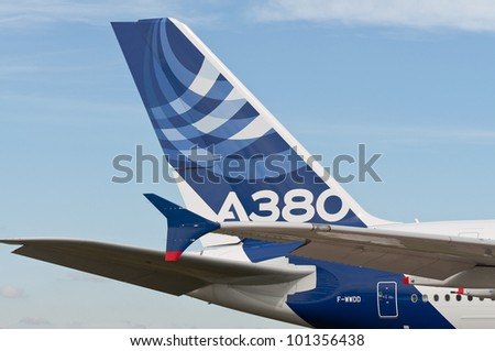 ZHUKOVSKY, RUSSIA - AUG 19: The tail of Airbus A380 on display at International aviation and space salon MAKS 2011 on August 19, 2011 in Zhukovsky, Russia