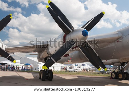 ZHUKOVSKY, RUSSIA - AUG 19: The Tupolev Tu-95 soviet turboprop strategic bomber  on display at International aviation and space salon MAKS 2011 on August 19, 2011 in Zhukovsky, Russia