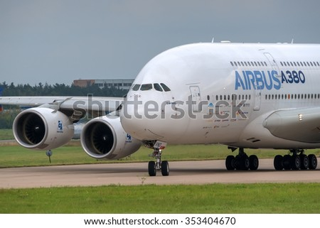 Zhukovsky, Russia - August 29, 2013: Airbus A380 - wide-body two-decked passenger airliner - taxiing for take off  at the International Aviation and Space salon MAKS-2013 - stock photo