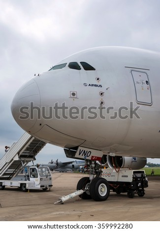 Zhukovsky, Russia - August 30, 2013: Airbus A380 - wide-body two-decked passenger airliner at the International Aviation and Space salon MAKS-2013 - stock photo