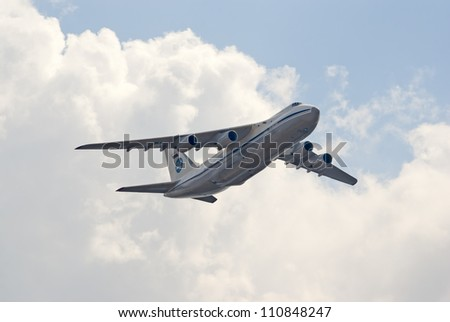"ZHUKOVSKY, RUSSIA - AUGUST 12: An-124 ""Condor"" heavy transport plane flies during the celebration of the centenary of Russian Air Force on August 12, 2012 in Zhukovsky, Russia"