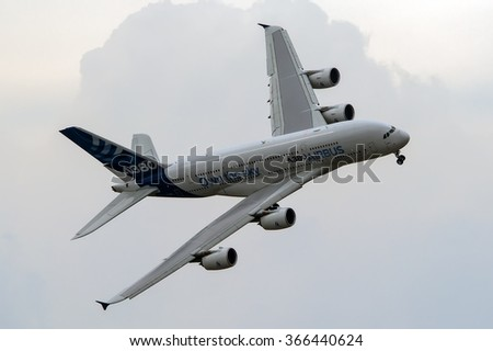 Zhukovsky, Russia - August 31, 2013: Demonstration flight Airbus A380 - wide-body two-decked passenger airliner at the International Aviation and Space salon MAKS-2013 - stock photo