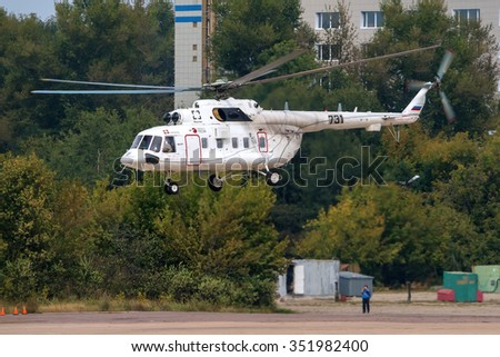 Zhukovsky, Russia - August 29: Russian helicopter Mil Mi-171 take off at the International Aviation and Space salon MAKS-2013. - stock photo