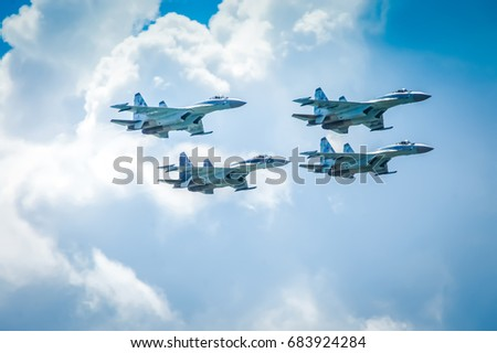 Zhukovsky, Russia 23 July 2017: Group of Sukhoi SU 27 on MAKS 2017 airshow. Sukhoi SU 27 (Flanker B) - fighter aircrafts of the Russian Air Force.