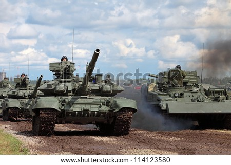 "ZHUKOVSKY, RUSSIA- JUN 29: The international salon of arms and military technology ""Engineering technologies 2012"" on Jun 29, 2012 in Zhukovsky. The show of military vehicles at the airfield Ramenskoe"
