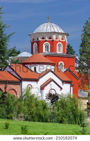 Zica monastery, Church of the Holy Dormition,   13th century Byzantine Romanesque monastery, Serbia - stock photo