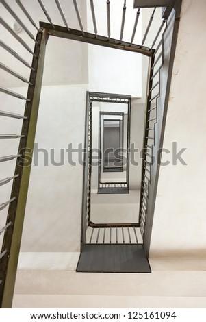 zig zag stairway toward to the roof, bottom view - stock photo