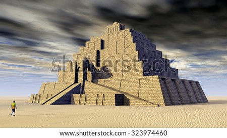 Ziggurat Computer generated 3D illustration