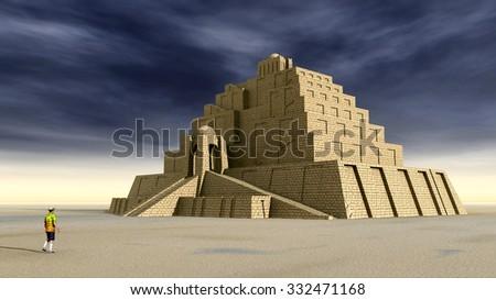 Ziggurat Computer generated 3D illustration - stock photo