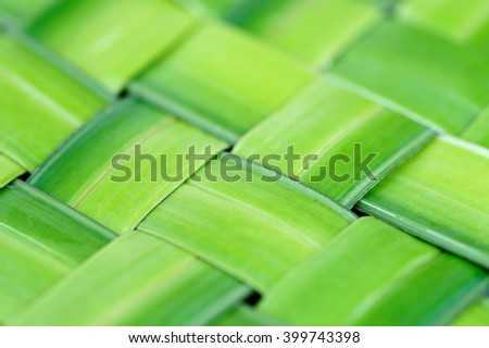 Zigzag interlocking of leaf, Green leaf abstract background, Green woven Background - stock photo