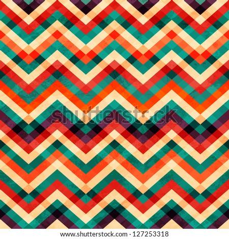 zigzag seamless pattern with grunge effect (raster version) - stock photo