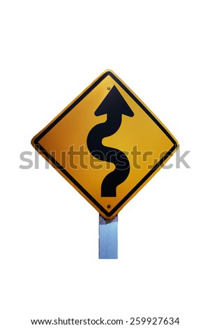 zigzag way traffic sign, isolated - stock photo
