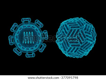 Zika virus structure concept / 3D render of Zika virus (ZIKV) showing distinct 3-like organisation of surface dimers of genus Flavivirus and internal structure of the virus - stock photo