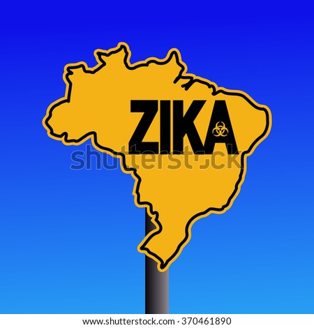 Zika virus warning Brazil map sign on blue illustration - stock photo