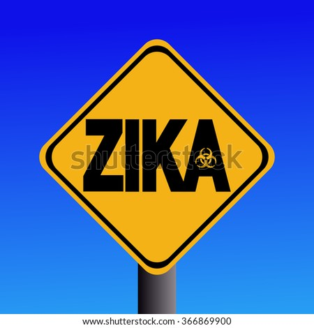 Zika virus warning sign on blue illustration - stock photo