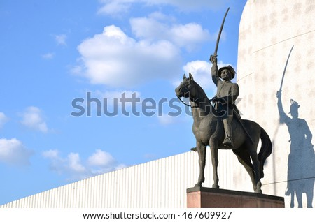 Zilina, Slovakia - August 2, 2016: Statue of slovak national hero J. M. Hurban displayed like a fighter for his nation with sword in hand on the horse