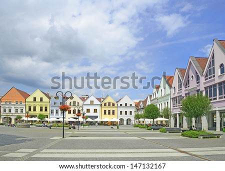 ZILINA, SLOVAKIA - JULY 20: Marianske namestie (Marienplatz) - main town square of Zilina on July 20, 2013. Zilina is the third largest city of Slovakia.