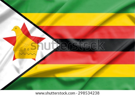 Zimbabwe flag on soft and smooth silk texture - stock photo