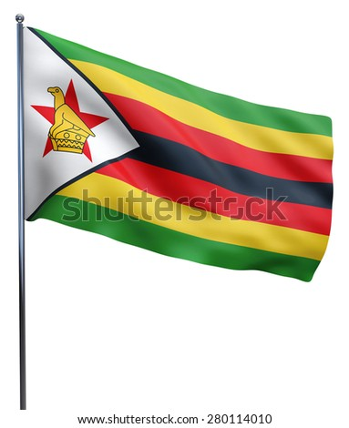 Zimbabwe flag waving image isolated on white. Clipping path included.