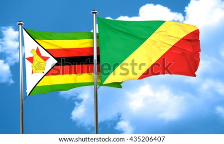 Zimbabwe flag with congo flag, 3D rendering