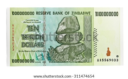 Zimbabwe ten trillion dollars bill - hyper inflation concept. (This banknote not used in present days) - stock photo