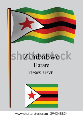 zimbabwe wavy flag and coordinates against gray background, art illustration, image contains transparency