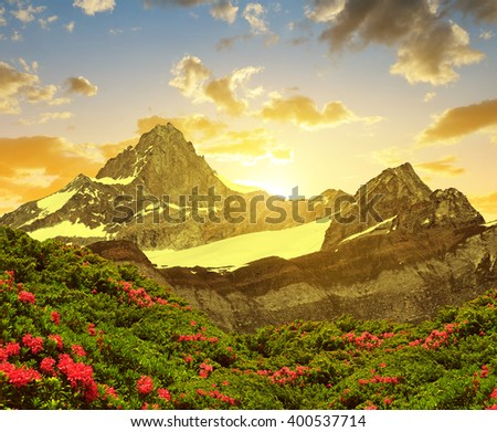 Zinalrothorn in the sunset - Pennine alps, Switzerland. - stock photo