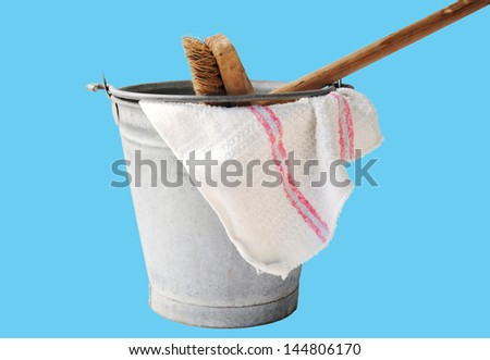 zinc bucket with floor cloth and floor brush Zinc bucket with floor cloth and broom  - stock photo