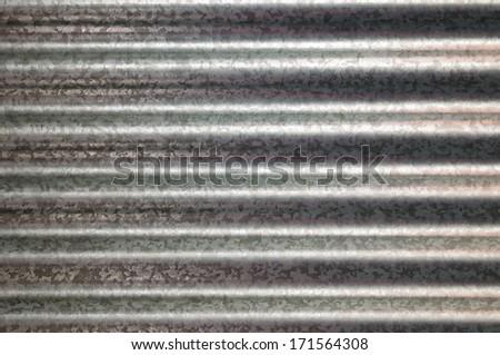 zinc galvanized corrugated metal texture horizontal and background - stock photo