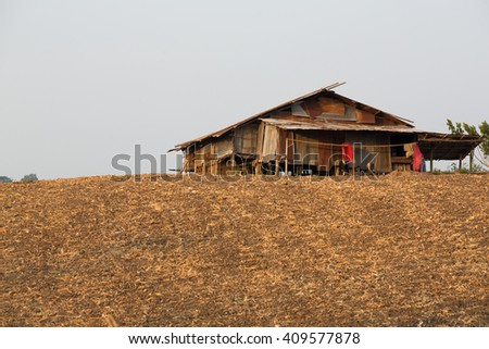 zinc roof house in the plantation, Mae Sot, Tak, Thailand - stock photo