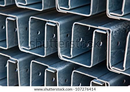 Zinc steel profile at bundle - stock photo
