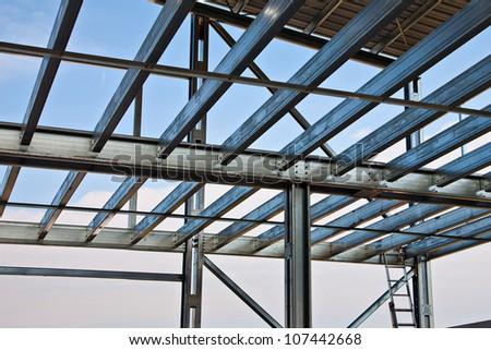 Zinc steel structure of light floor - stock photo